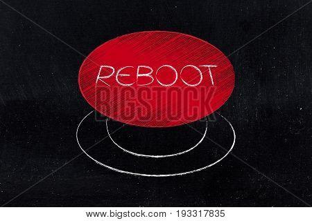 Big Red Reboot Button Illustration