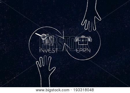 Invest To Earn More, Hands And Arrow Illustration