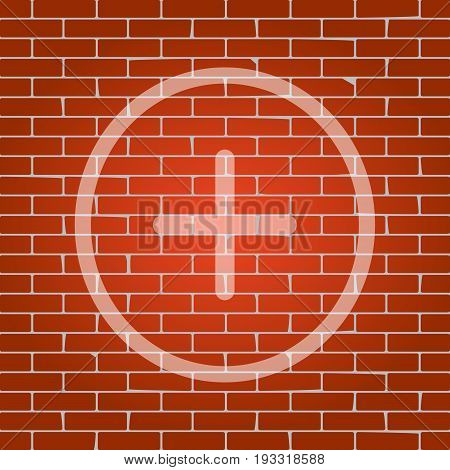 Positive symbol plus sign. Vector. Whitish icon on brick wall as background.