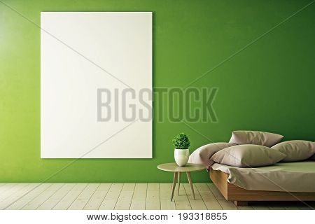 Front view of empty whiteboard in interior with green wall wooden floor couch and table with decorative plant. Mock up 3D Rendering