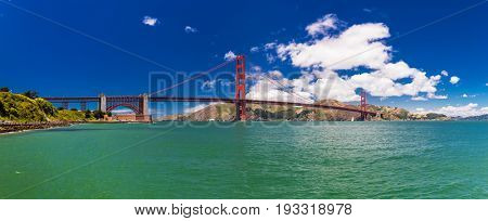 Panoramic large resolution shot of Golden Gate Bridge in San Francisco, California, USA