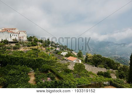 Scenic panoramic view of Ravello surroundings with agriculture terraces, Amalfi Coast, Campania, Italy