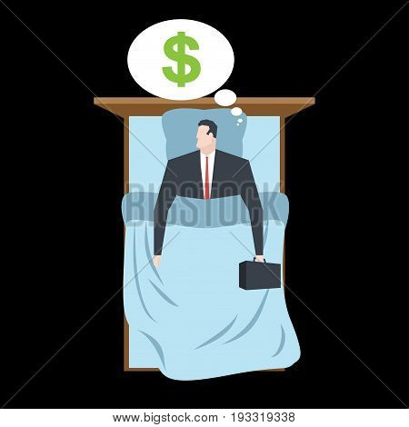 Businessman Sleeping In Bed Sleep Money. Manager Rests. Business Sleep
