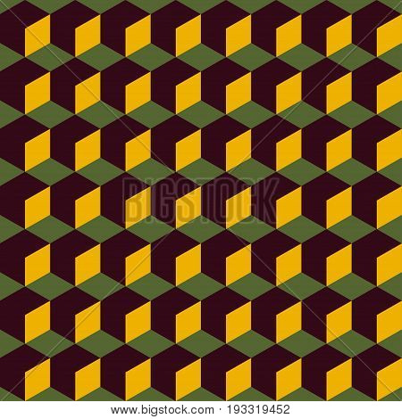 Abstract seamless geometric retro pattern. Background with 3D cubes. Vector illustration