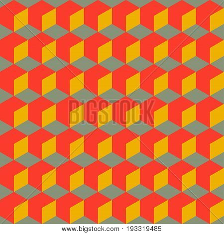 Abstract bright seamless geometric retro pattern. Background with 3D cubes. Vector illustration