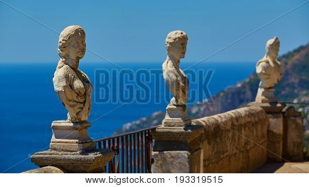 Scenic picture-postcard view of famous Amalfi Coast with Gulf of Salerno from Villa Cimbrone gardens in Ravello, Naples, Italy.