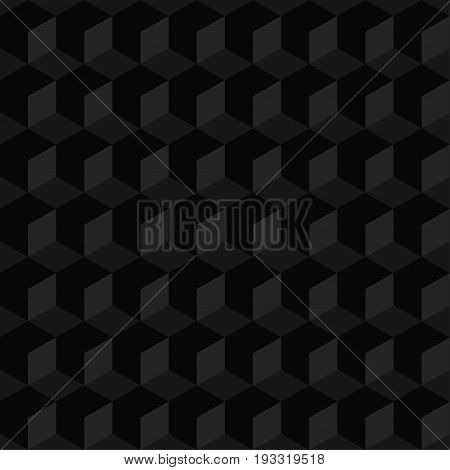 Abstract black seamless geometric retro pattern. Web background with 3D cubes. Vector illustration
