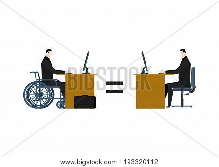 Disabled At Work. Manager On Wheelchair At Table. Equal Rights For People With Disabilities