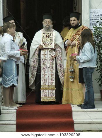 Greek Orthodox leader starting the celebration honoring Saint John the Russian. May 26 2005 - Prokopi, Evia, Greece