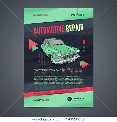 Auto Repair Services layout templates automobile magazine cover auto repair shop brochure mockup flyer. Vector illustration.