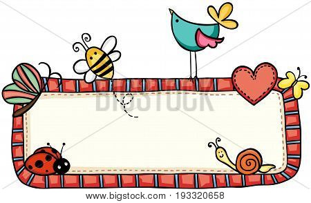 Scalable vectorial image representing a animals at vintage love blank sign isolated on white.