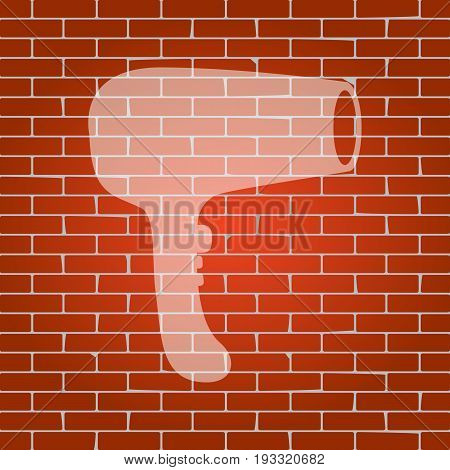 Hair Dryer sign. Vector. Whitish icon on brick wall as background.