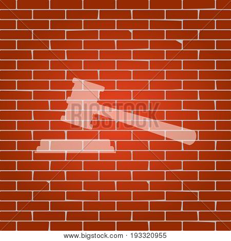 Justice hammer sign. Vector. Whitish icon on brick wall as background.