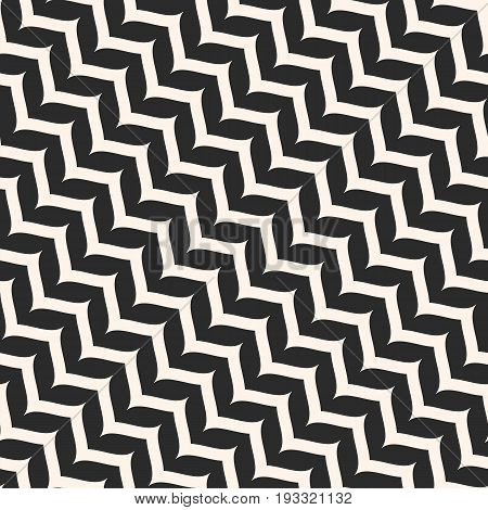 Vector seamless pattern, curly diagonal zig zag lines. Simple wavy stripes. Zigzag monochrome texture. Abstract repeat background. Design for prints, decor, package, textile, furniture, linens. cloth