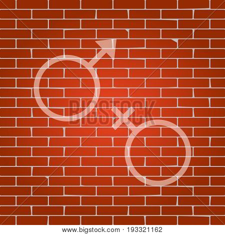 Sex symbol sign. Vector. Whitish icon on brick wall as background.