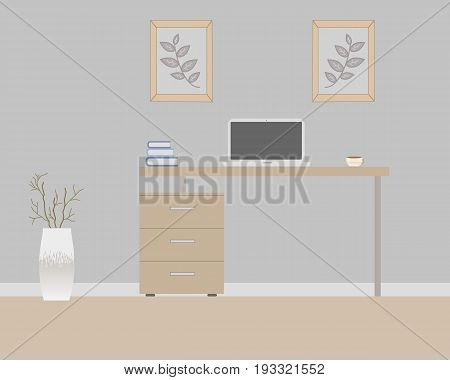 Office in loft style on a gray background. Vector illustration. Table with drawers,decorative branches in a beautiful vase floor, cute paintings. Cup with coffee, laptop, books
