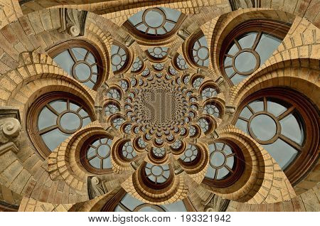 Kaleidoscopic view of arched windows and their glass panes