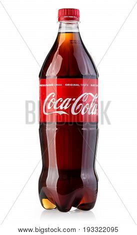 Chisinau Moldova - May 22 2017: Photo of Coca-Cola plastic bottle Isolated on white Background. Coca Cola is the most popular carbonated soft drink beverages sold around the world