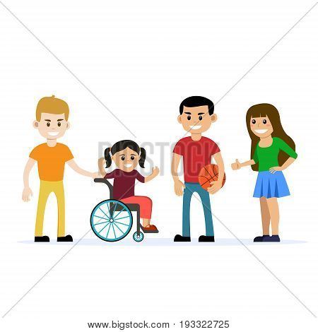 Disabled young girl in wheelchair playing and having fun with her friends. Cartoon vector characters. Isolated background. Concept for lifestyle and opportunities for people with disability