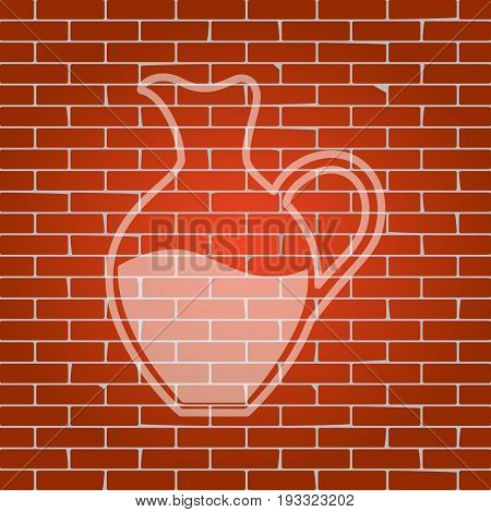 Amphora sign. Vector. Whitish icon on brick wall as background.