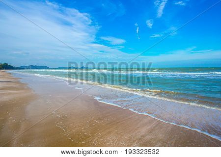 Sea wave foam on Karon beach Phuket Thailand. Exotic paradise of Thailand beach Asia. Peaceful ocean wave at beach. Perfect resort for relax. Ocean wave. Sea waves on beach