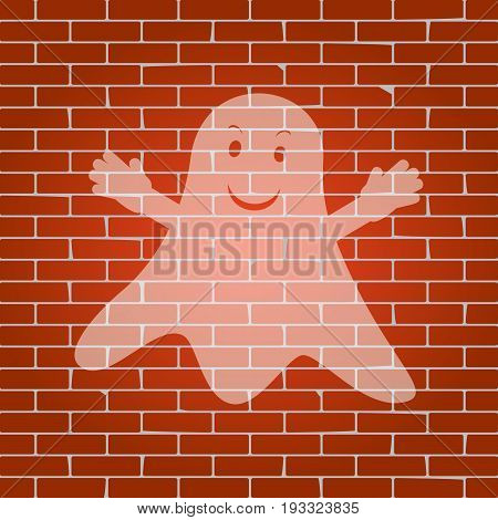 Ghost sign. Vector. Whitish icon on brick wall as background.