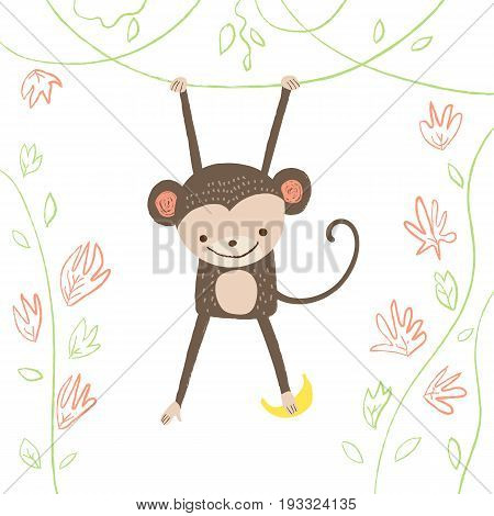 Cute monkey with banana on white isolated background. Vector illustration in cartoon style for print design of children s banners, postcards, posters, booklets.