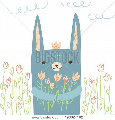 Cute hare with flowers on white isolated background. Vector illustration in cartoon style for print design of children s banners, postcards, posters, booklets.