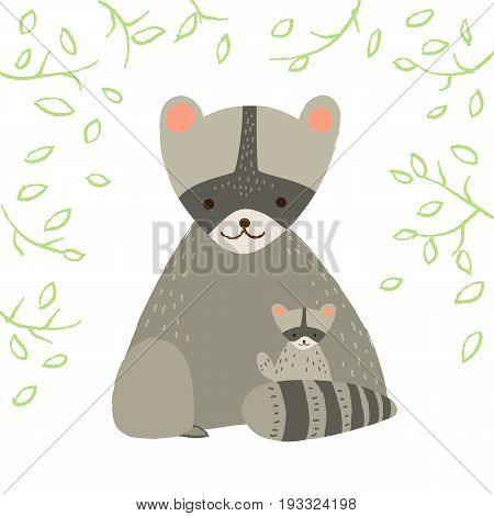 Cute raccoon with child and leafs on white background. Vector illustration in cartoon style for print design of children s banners, postcards, posters, booklets.