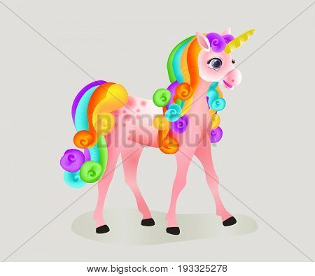 Cute cartoon unicorn with a rainbow mane and a tail. Isolated image. Vector illustration