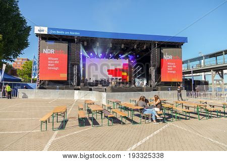 KIEL / GERMANY - JUNE 20 2017: NDR stage on public event Kieler Woche in Germany. Northern German Broadcasting is a public radio and television broadcaster based in Hamburg.
