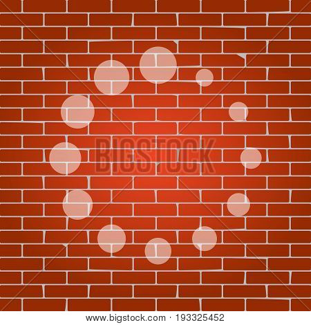 Circular loading sign. Vector. Whitish icon on brick wall as background.