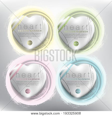 Abstract vector banner set of 4. Pebble stones in shape of heart on the hand-drawn watercolor design. Colorful on the white panel. Each item contains space for own text. Vector illustration. Eps10.