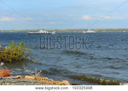 Ferries on Lake Champlain near Cumberland Head in town of Plattsburgh, Upstate New York, USA.