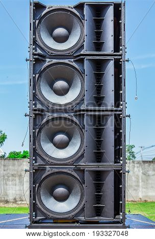 Old powerful concerto industrial black audio speakers
