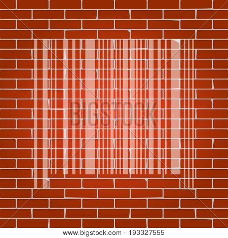 Bar code sign. Vector. Whitish icon on brick wall as background.