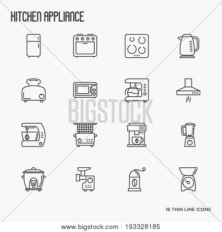 Kitchen appliances thin line icons: refrigerator, coffee machine, microwave, fryer. Household vector illustration.