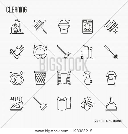 Set of cleaning service thin line icons: iron, washer, robot vacuum cleaner, brushes and other accessories for household. Vector illustration.