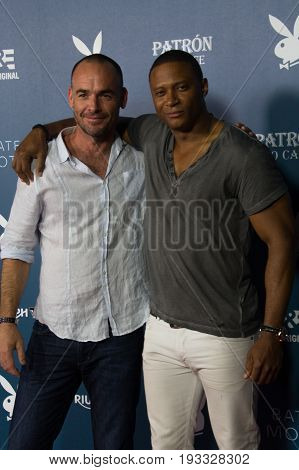 San Diego, CA - July 26, 2014:  Paul Blackthorne and David Ramseyof The CW's Arrow arrives at A&E / Playboy event at Comic Con 2014 in San Diego, C