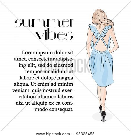 Tender young girl in pastel blue dress. Attractive fashion model in ruffle dress. Lifestyle glamour woman print. Summer vibes clipart.
