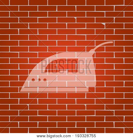 Smoothing Iron sign. Vector. Whitish icon on brick wall as background.