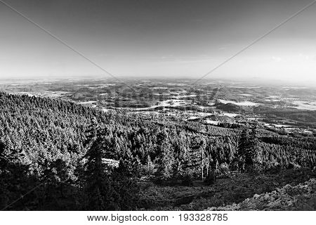 Machuv Kraj Tourist Area With Bezdez Hill On Horizont When Viewed From Hill Jested Near Liberec City