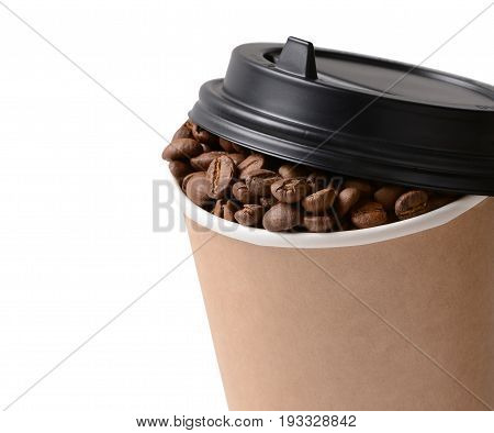 Paper Coffee cup with Coffee Beans isolated on white background. Takeaway or Disposable Coffee Cup