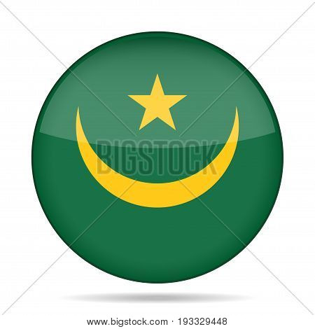 National flag of Mauritania. Shiny round button with shadow.