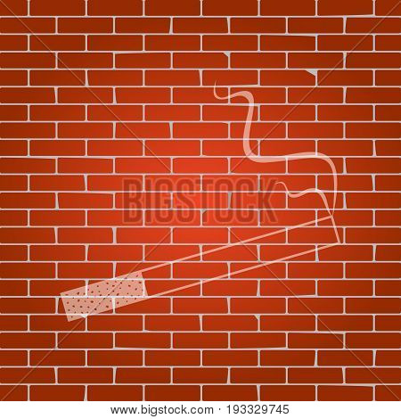 Smoke icon great for any use. Vector. Whitish icon on brick wall as background.