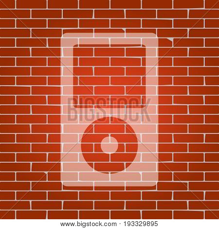 Portable music device. Vector. Whitish icon on brick wall as background.