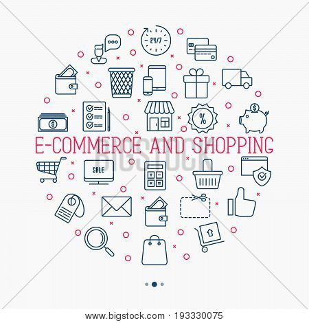 E-commerce, shopping circle concept with thin line icons contains such elements as shopping cart, payment method, delivery, sale. Vector illustration.