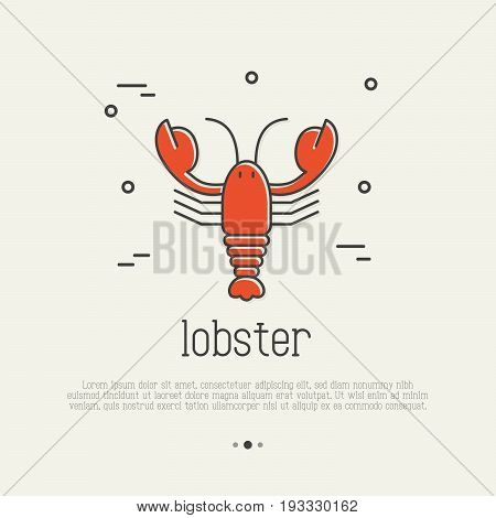 Red lobster thin line icon. Seafood, delicacy vector illustration for logo of restaurant and menu.