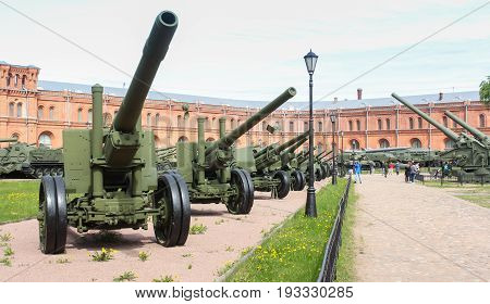 St. Petersburg Russia - 28 May, Alley of artillery in the museum, 28 May, 2017. Military History Museum of combat equipment in St. Petersburg.