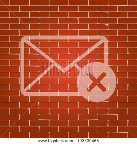 Mail sign illustration with cancel mark. Vector. Whitish icon on brick wall as background.